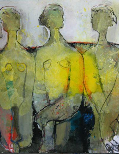 trois petites femmes en jaune  110-120  (0912)
