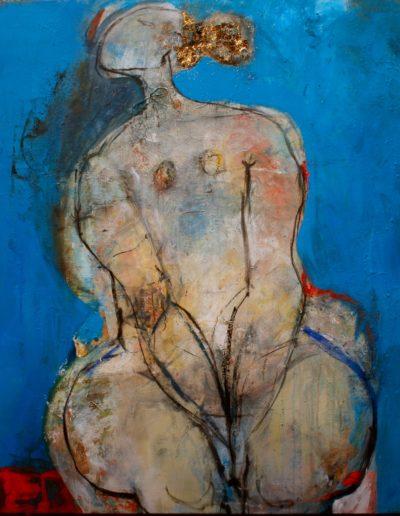 Christianne Knops - Petite femme assise en bleue - 1,10m - 1,20m