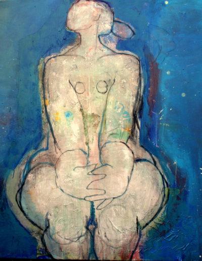 Christianne Knops - Assise en bleu - 1,40m - 1,40m