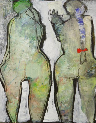Christianne Knops - Deux petites femmes en blanc - 1,00m - 1,10m